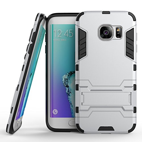 Price comparison product image Galaxy S7 Edge, TOODAY Ultra Premium Heavy Duty [Shockproof] Dual Layer Hybrid Armor [Scratch Resistant] Defender Protective Durable Case With Kickstand for Samsung Galaxy S7 Edge (Silver)