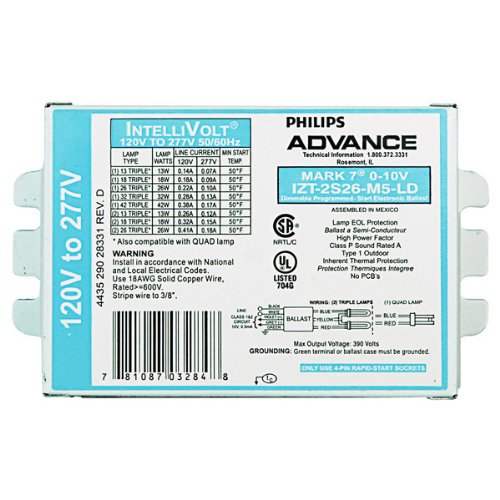 (Advance Mark 7 0-10V IZT-2S26-M5-LD - (2) Lamp Fluorescent Ballast - 26 Watt CFL - 120/277 Volt - Dimming - 1.0 Ballast Factor)