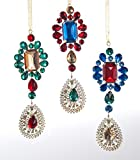 "TRIO! Multi-Jewel Color Pendant Christmas Ornaments 10"" by Katherine's"