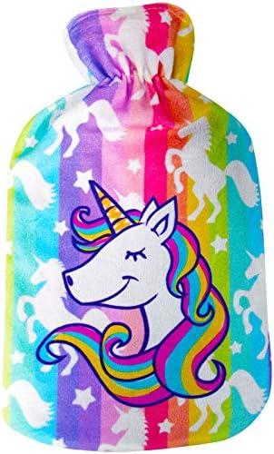 Wärmflasche mit schönem Fleece-Einhorn-Druck, weicher Bezug, hochwertiger Naturkautschuk, 2 Liter Wärmflasche,...