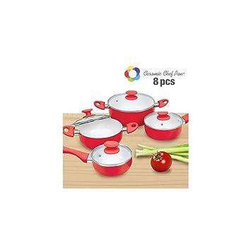 Appetitissime Chef Pan Batería de Cocina, Aluminio, Rojo, 24 cm, 8 Unidades: Amazon.es: Hogar