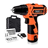 Tacklife PCD02B 12V Lithium-Ion Cordless Drill/Driver Max Torque 25N.m Variable Speed,19+1 Torque Setting with LED,8pcs Drill Bits,8pcs Driver Bits,1pcs Extension Bit Holder,1 Hr Fast Charger Included