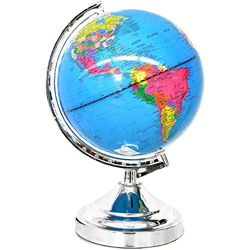 - Decorative Rotating Globe Lamp with Touch Feature, Blue