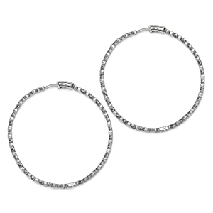 .925 Sterling Silver 65 MM Diamonds In & Out Hoop Earrings