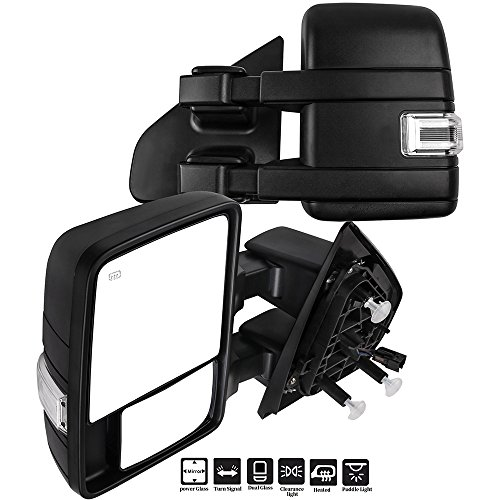 Eccpp F150 Towing Mirrors A Pair Of Exterior Automotive Mirrors Replacement Fit For 2004 2014 Ford F 150 With Puddle Lights Turn Signal Indicator And Power Operation Heated Black Housing
