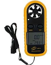 Digitaler Windmesser von GM816, mit LCD und Thermometer, mobil, misst Luftstrom