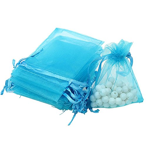 Drawstring Organza Jewelry Pouches Wedding Party Festival Gift/Candy Bags (Pack of 50) (Light Blue)