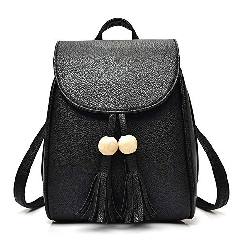 Backpack PU Black Girls Personality Shoulder Summer Bag Fashion Tassels Cute Womens qTW6BYT