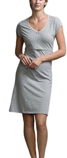 Mujer Camisones De Verano Camison Premama Lactancia Manga Corta Casual Cómodo Pijama Lindo Chic Lactancia (