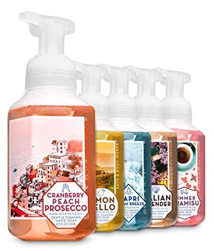 Bath and Body Works Italian Foaming Hand Soap - Limoncello - Italian Lavender - Cranberry Peach Prosecco - Summer Tiramisu - Capri Ocean Breeze - Set of 5 Italian Favorites Foam Soaps (Soap Bed)