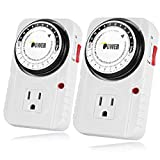iPower 2-PACK 24 Hour Plug-in Mechanical Electric Outlet Timer, 15 Minute Interval Timer
