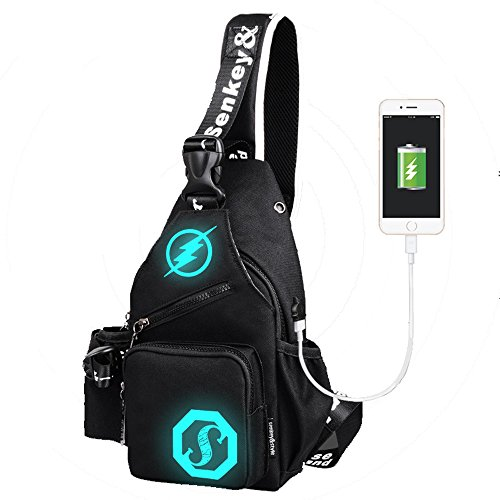 LOVE(TM)Anime Luminous Backpack with USB Charging Port Chest Bag Sports Casual Canvas Shoulder Bag Crossbody Bag Lightweight Hiking Travel Backpack Daypack for Men Women by LOVE(TM)