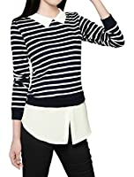 Allegra K Woman Striped Long Sleeves T-Shirt w Woven Shirttail Hem and Collar
