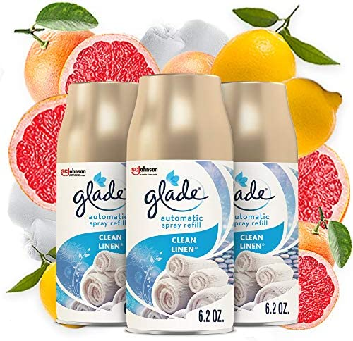 Glade Automatic Spray Refill, Air Freshener for Home and Bathroom, Clean Linen, 6.2 Oz, 3 Count