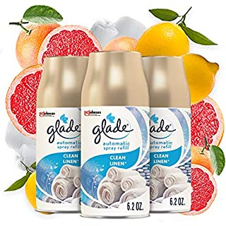 Glade Automatic Spray Refill, Air Freshener for Home and Bathroom, 6.2 Oz, Clean Linen, 3 Count