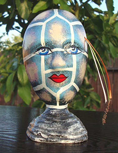 Ceramic Glazed Pottery SMALL Mask Face Self standing 6