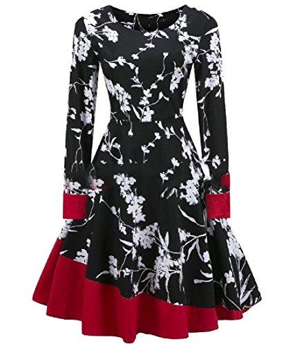 Coolred-femmes Grand Ourlet Élégant Impression Sexy Floral Mi-longueur Robe Noire