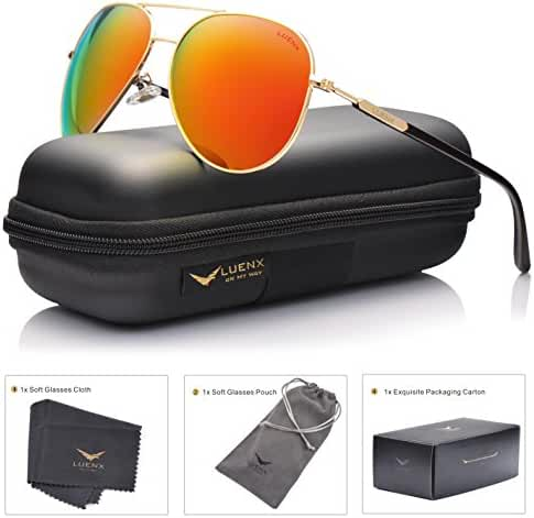 LUENX Men Aviator Sunglasses Polarized Women - UV 400 with case 60MM