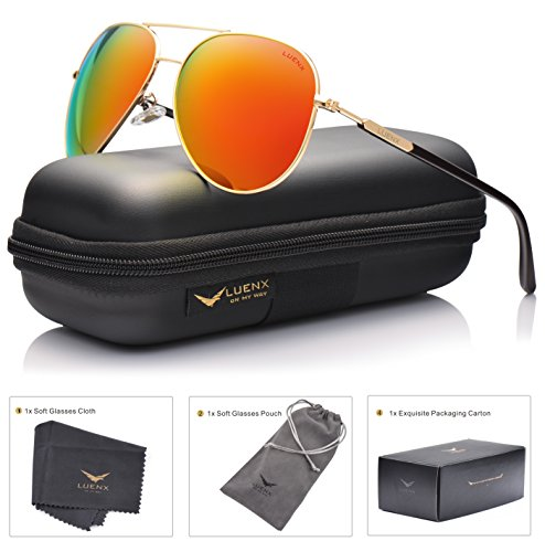 [LUENX Womens Mens Aviator Sunglasses Polarized with Case - UV 400 Protection Orange Lens Gold Frame 60mm] (Orange Womens Sunglasses)