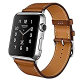MroTech Compatible for Apple Watch Band 42mm (44mm) Series 1 2 3 4, iWatch Band Strap Genuine Leather Wristband Replacement Watchband for Apple Watch Sport Edition Nike+ Smartwatch (Brown, 42 mm)