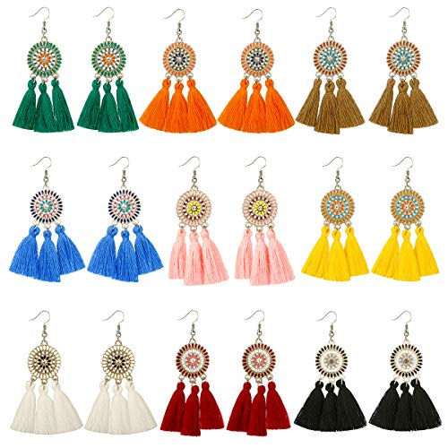 9 pairs Tassel drop Earrings for Girls Women Colorful Long Layered Bohemian Tiered Thread Ball Dangle Earrings Red pink Turquoise Hoop Stud Earrings Fashion Jewelry Valentine Birthday Gift (color1-9)