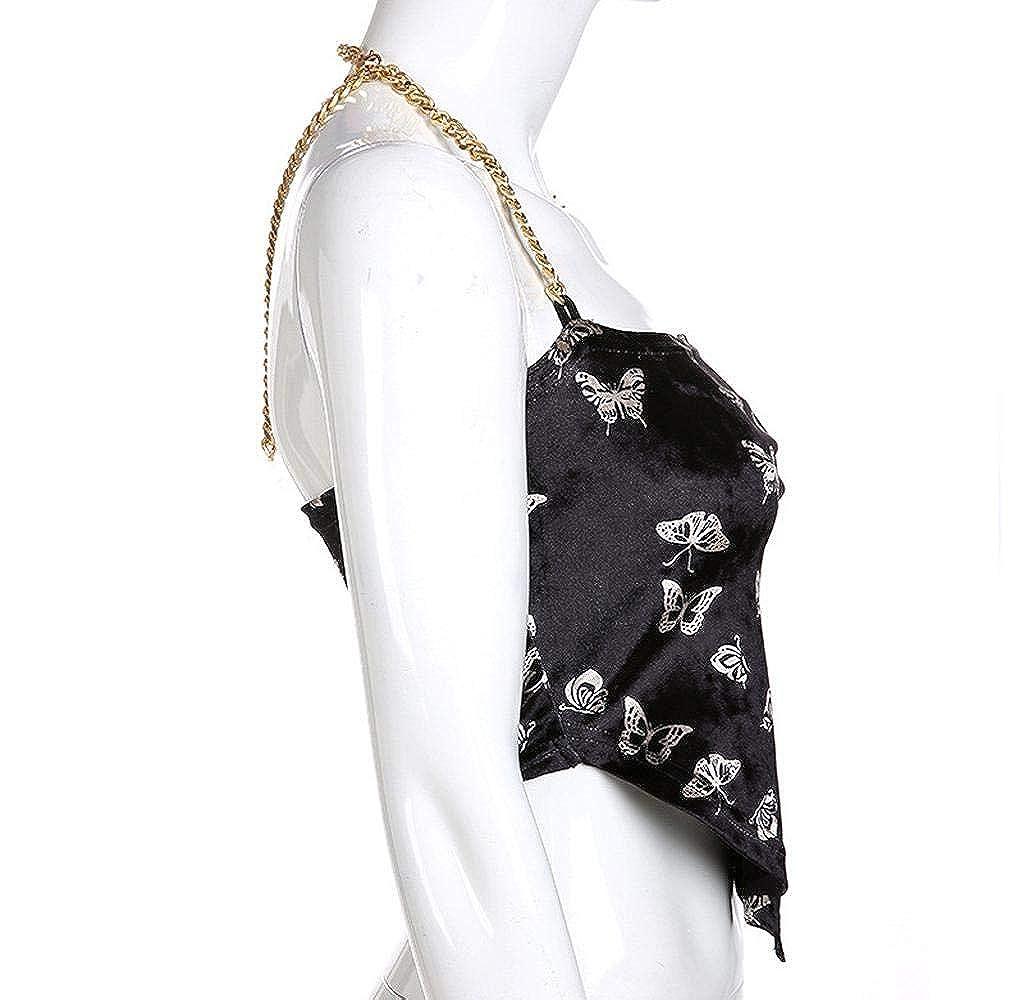 Womens Chain Halter Crop Top Butterfly Print Bellyband Short Tank Top