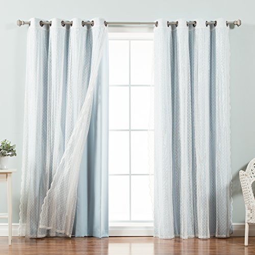 Best Home Fashion Mix & Match Dotted Tulle Lace & Solid Blackout Curtain Set – Antique Bronze Grommet Top – Sky Blue – 52