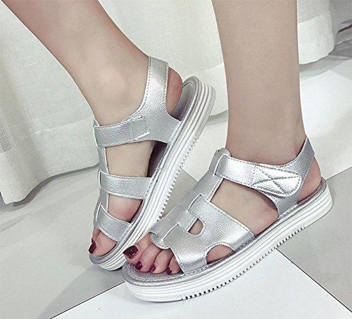La Zapatos Del Mujeres Playa Silver Las Inferiores Sandalias Verano De Respirables Suaves ggqrnt5w4