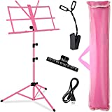 Music Stand, Kasonic Professional Stage Folding Sheet Music Stands; Height Adjustable, Lightweight & Portable, Pink Color with Carrying Bag/LED light/Music Sheet Clip, for Instrumental Performance