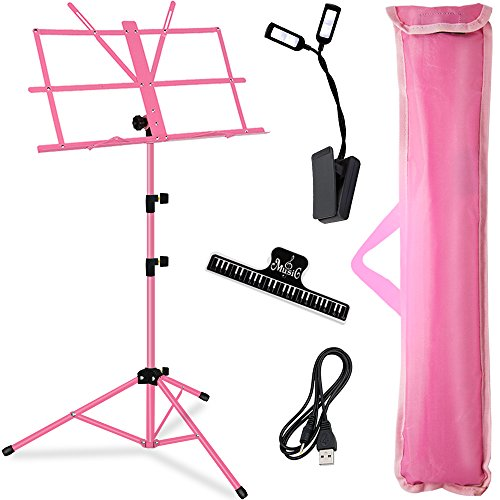 Music Stand, Kasonic Professional Stage Folding Sheet Music Stands; Height Adjustable, Lightweight & Portable, Pink Color with Carrying Bag/LED light/Music Sheet Clip, for Instrumental Performance (Violin Stand Case)