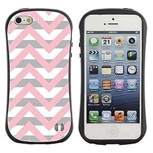 Paccase / Suave TPU GEL Caso Carcasa de Protección Funda para - Pink Beige White Lines Pattern - Apple Iphone 5 / 5S
