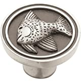 Liberty PBF659-BSP-C 35mm Angel Fish Kitchen Cabinet Hardware Knob, Brushed Satin Pewter