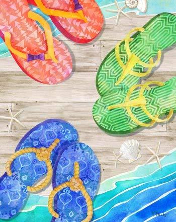 (Rustic Axentz Large 100% Cotton Velour Beach Towel, Nautical Flip Flops Sandals Boardwalk, 54x68-inch)