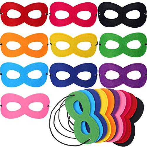Jovitec 50 Packs Hero Eye Masks Cosplay Masks Masquerade Masks Felt Masks for Christmas Birthday Party (Multicolored)