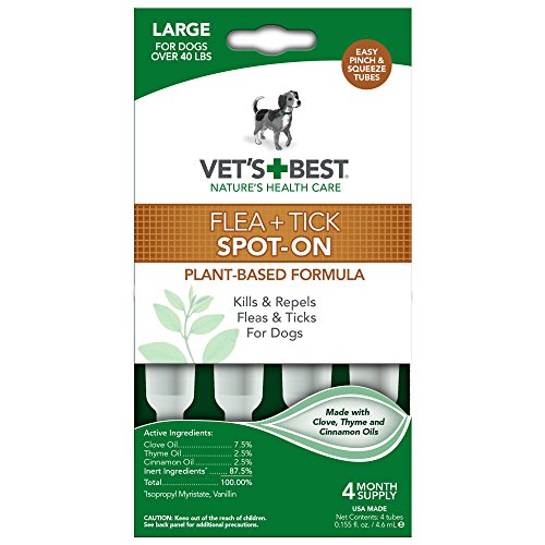 Vet's Best Topical Flea & Tick Treatment for Dogs over 40lbs, 4 Month Supply