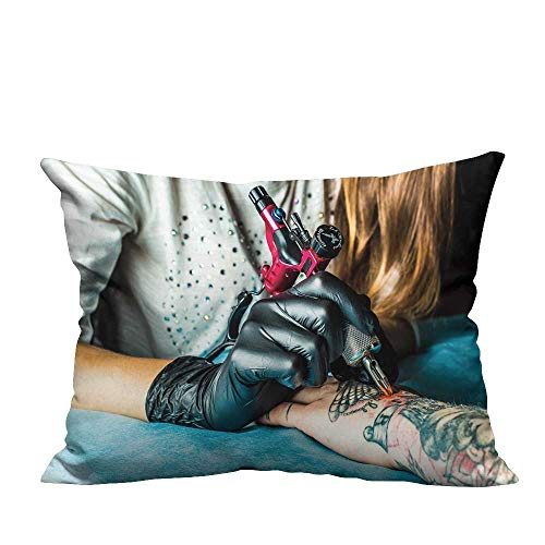 (fengruihome Modern Fashion Cushion Cover Master Tattoo Draws The Orange Paint Clients Tattoo Tattoo Artist h a Pink Tattoo Printing Dyeing 11x19.5 inch(Double-Sided Printing))