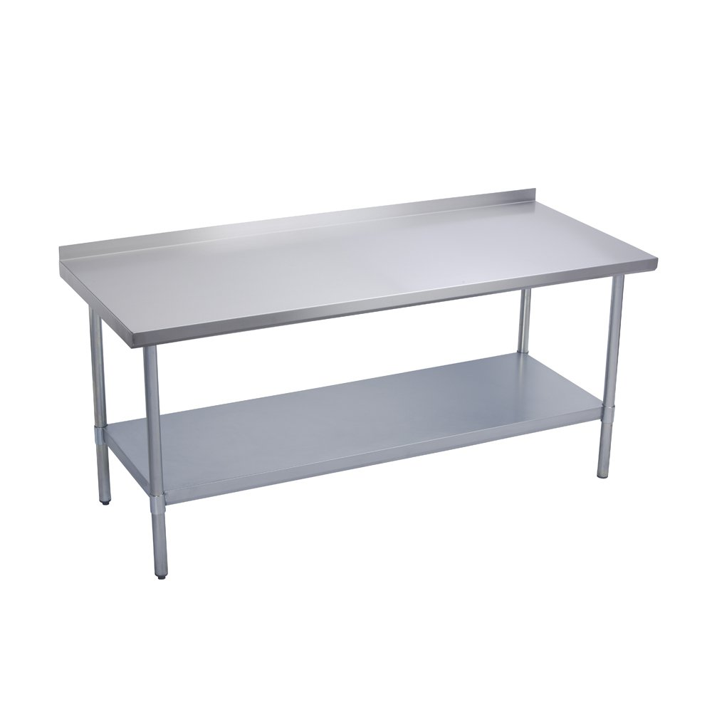 Elkay Commercial Grade NSF Stainless Steel Table with Backsplash Adjustable Height Feet and Undershelf, 24'' x 24''
