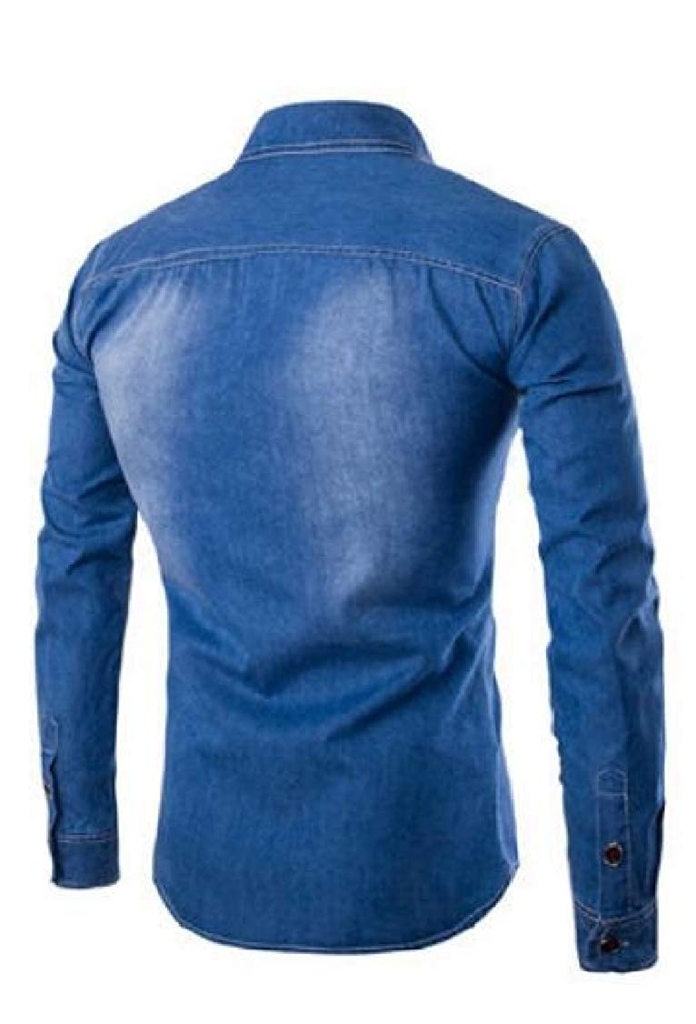 pipigo Mens Button Down Jean Denim Long Sleeve Washed Casual Faded Shirts