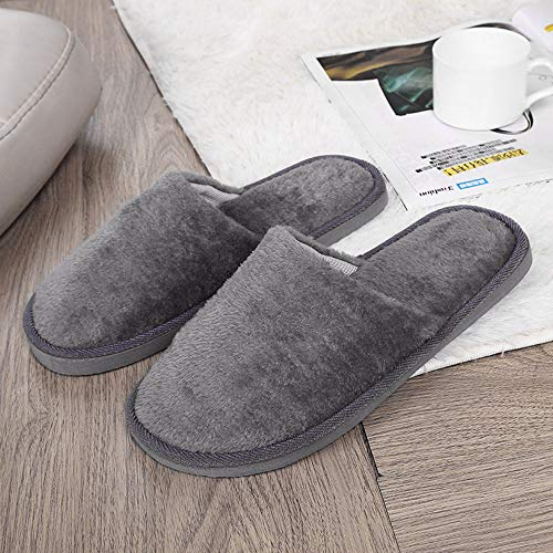 Rabung Mens Womens Slippers Plush Slippers Winter Warm Indoor Outdoor Shoes Anti Slip Comfy House Slippers Clog House Shoes with Indoor Outdoor Anti-Skid Sole Winter Shoes Gray