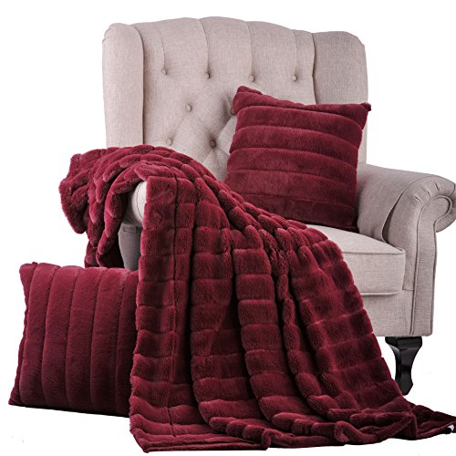 Red Microfiber Set Sofa (Home Soft Things BOON Rabbit Fur Throw with 2 Pillow Combo Set, 60