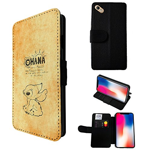 000825 - Ohana Family Meaning Quote Design Wiko Sunny 2 Credit Card Flip Case Purse pouch Stand - Sunnies Meaning
