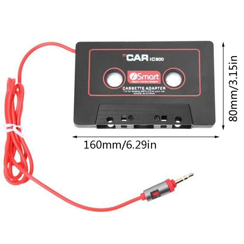 Car Audio Systems Car Stereo Cassette Tape Adapter for Mobile Phone MP3 AUX B8T5 Black Red Color Durable