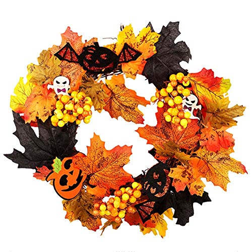 Solvang Fall Door Wreaths 14Inch Pumpkin Rattan Berry Maple Leaf Wreath Autumn Wreath Wall Ornament Halloween(A) -