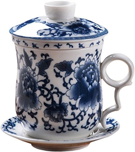 (BandTie Convenient Travel Office Ceramics Teacup Loose Leaf Tea Brewing System-Chinese Jingdezhen Blue and White Porcelain Tea Cup Infuser 4-Piece Set with Tea Cup Lid and Saucer,Blue Peony Flowers)