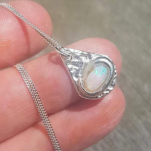 Opal Necklace Silver Raw Opal Pendant Teardrop Necklace Fine Silver Raw Stone Unique Necklace Silver Necklace Pendant Opal jewelry for women