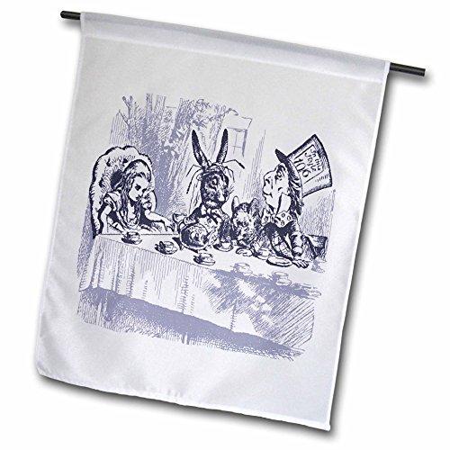 Nursery Rhymes Tea (Florene Nursery Rhymes And Fairytales - Image of Alice Wonderland Mad Tea Party In Violet - 12 x 18 inch Garden Flag (fl_234698_1))