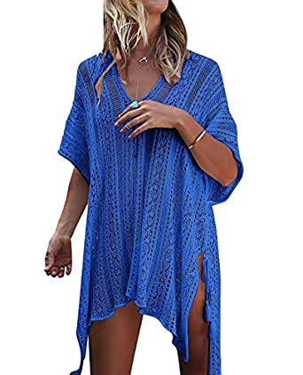 Bestme Women's Crochet Bikini Swimsuit Swimwear Bathing Suit Cover Up Tunic Tops Beachwear (Dark Blue)