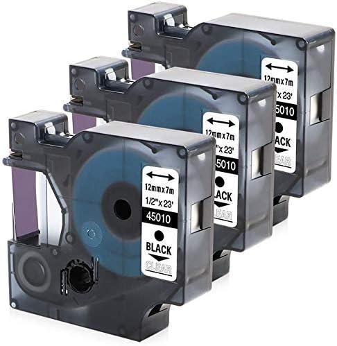 para Etiquetadora Dymo D1 para Cinta de Impresora Dymo-D1 45013 12 Mm Cinta Adhesiva Compatible Negra Sobre Blanco 45013 Domilay Cinta Adhesiva de Pl/áStico de 20 Piezas