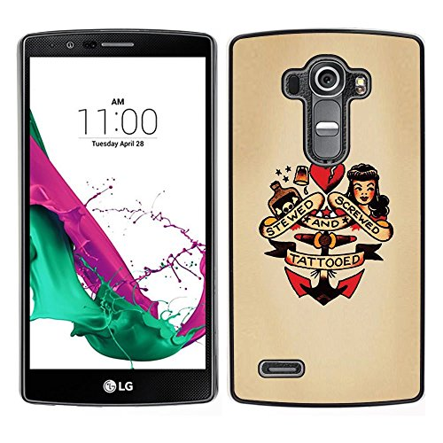 Snap-on Series Plastic Back Case Shell Skin Cover for LG G4 , ( Pin Up Heart Doll Anchor Woman Tattoo (Pin Up Dolls Tattoos)