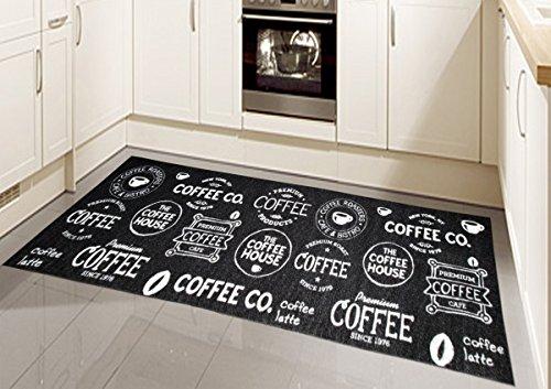 Teppich Modern Flachgewebe Gel Läufer Küchenteppich Küchenläufer Schwarz Weiss mit Schriftzug Coffee Größe 80 x 300 cm